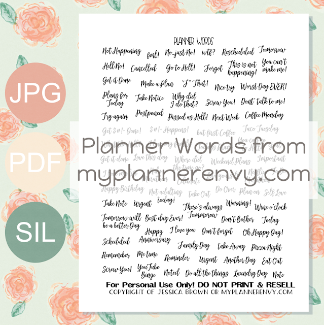 Free Printable Planner Words from myplannerenvy.com