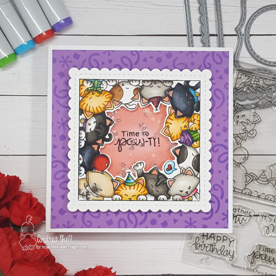 Cat Birthday Card by Andrea Shell | Newton's Block Party Stamp Set, Frames Squared Die Set, and Confetti Stencil by Newton's Nook Designs #newtonsnook #handmade