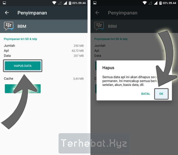logout BBM di hp Android