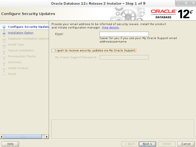 Installing oracle database 12c r2 on Linux wizard screen 1