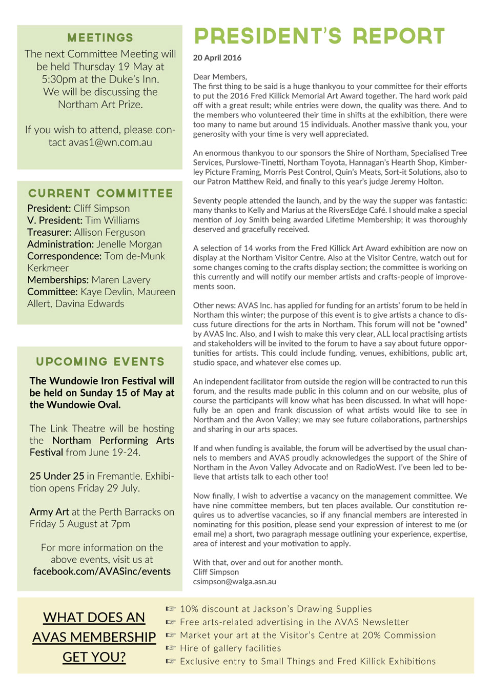 Newsletter May 2016 | Avon Valley Art Society
