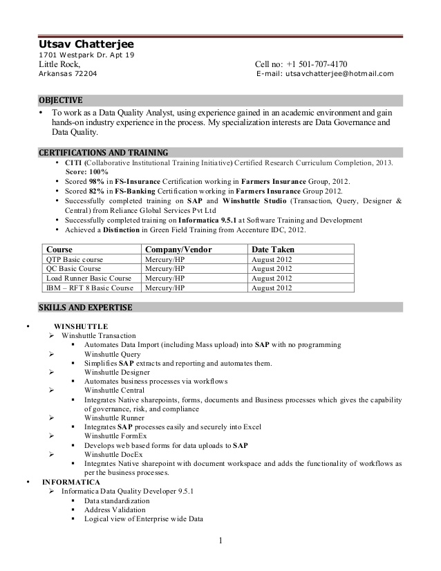 informatica sample resumes sample resumes