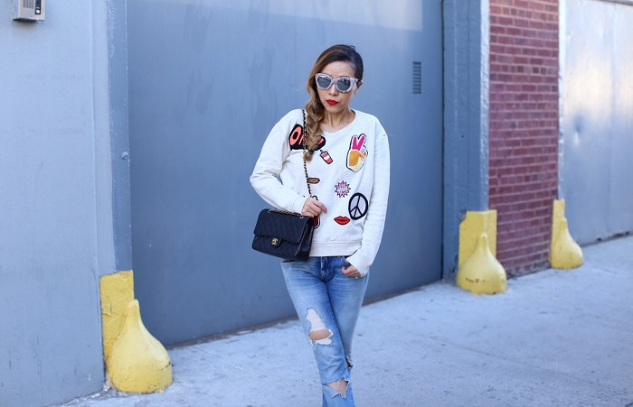 Scotch Soda Maison Scotch Fave sweatshirt, blank denim ripped jeans, chanel 255 classic flap bag, Quay marble mirrored sunglasses, vans slip on, shopbop spring sale, bigevent16, spring outfit, spring fashion, new york street style