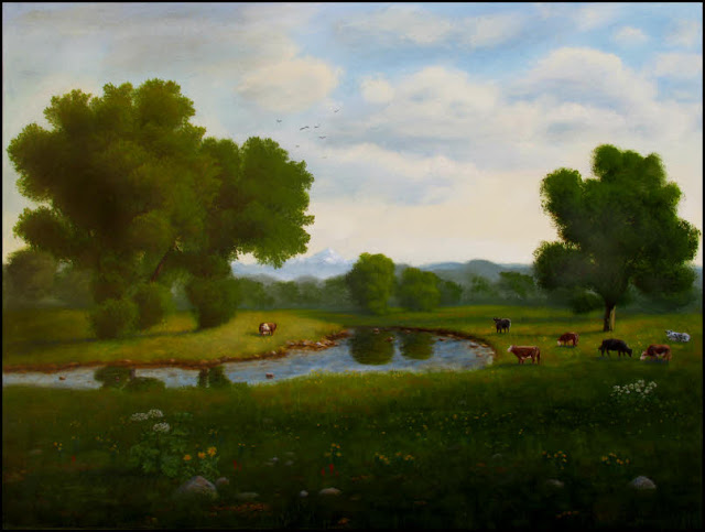 art,painting,meadow,trees,green,cattle,cows,Herefords,Black Angus,Hollsteins,river,creek,water,cow parsnip,wildflowers,clouds,distant mountains,traditional,classical realism