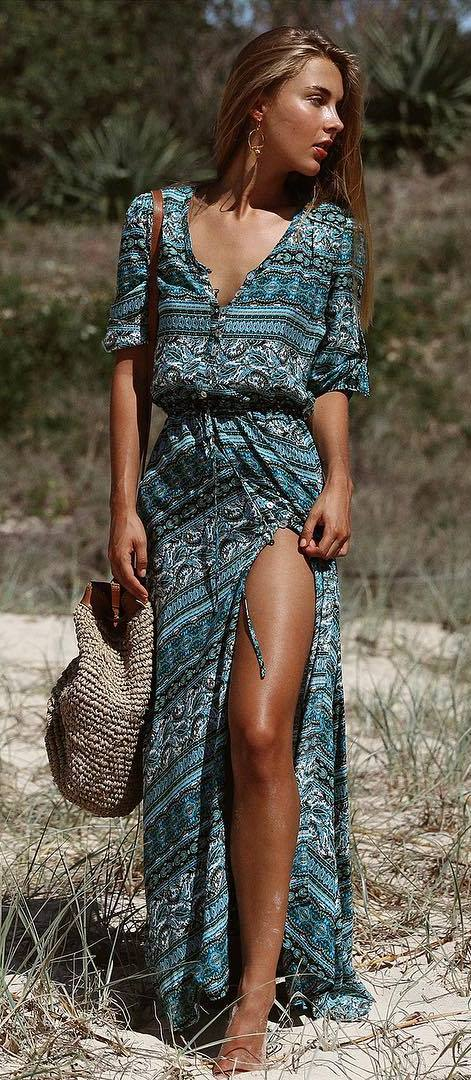 summer boho style addict: dress + bag