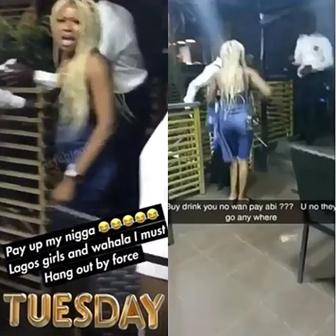 OMG! Slay Queen Left Embarrased And Detained After Her Date Left Her With Bills At A Lagos Lounge (Photos)