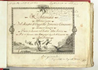 Cimarosa  Artemisia (1801) avec Nancy Storace et John Braham