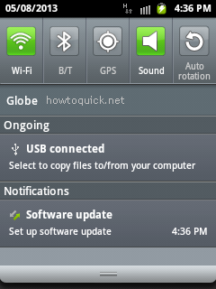 USB Mass storage mode Menu