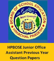 HPBOSE Junior Office Assistant Previous Year Question Papers