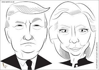Donald Trump v Hilary Clinton caricature by Ian Davy Brown