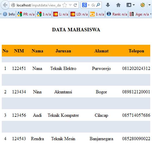 input data ke database dengan PHP dan MySQL