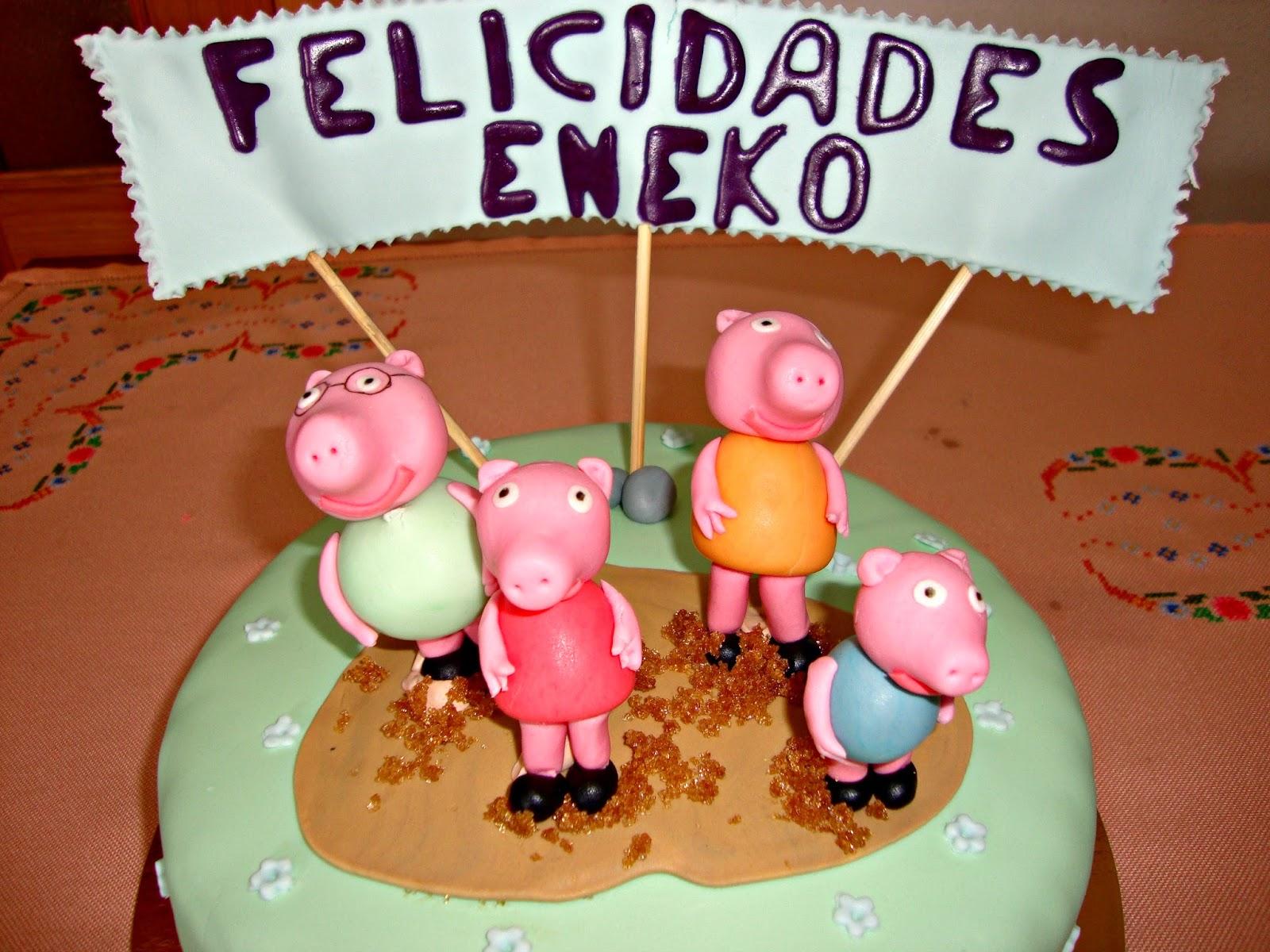 Familia Peppa Pig de fondant