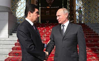 Vladimir Putin with President of Turkmenistan Gurbanguly Berdimuhamedov.