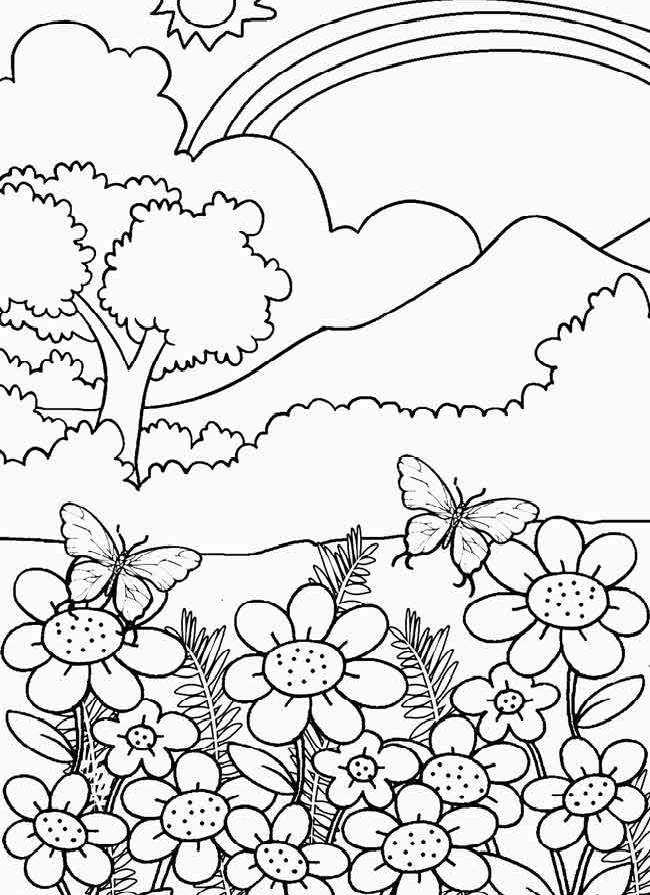 Sketsa Gambar Hitam Putih Pemandangan Yang Mudah Anak Tk Paud Sd