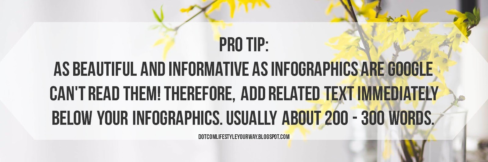 Pro Tip:As beautiful and informative as infographics are Google can't read them. Therefore, add related text immediately below your infographics. Usually about 200 - 300 words.