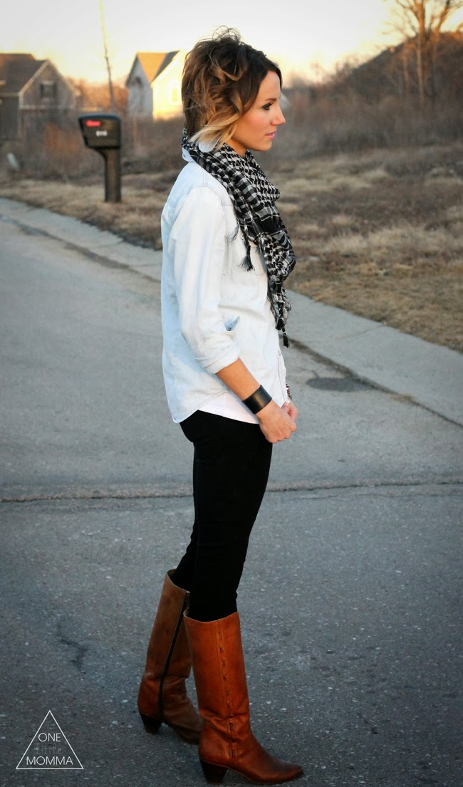 Black and White Tassled Scarf with Western denim shirt, black pants and vintage boots