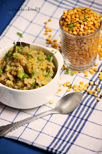 how to cook Dal Diye Begun Pora recipe / Charred Eggplant Mash with Lentils recipe and preparation