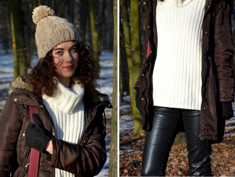 woskowane spodnie, kręcone włosy, wełniany sweter, stylizacja, zima, sweter H&M, kurtka parka, wełniana czapka, sztyblety, bordo