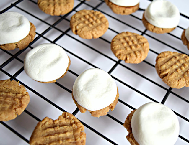 S'more Peanut Butter Cookie Sandwiches are bite size and a delicious twist from a traditional campfire s'more. These little cookies are gluten free and filled with good, clean ingredients.