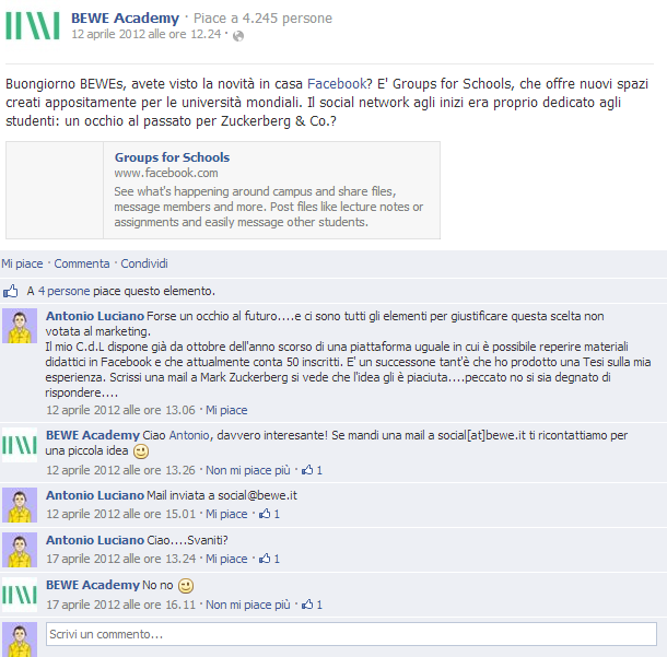 Commento bewe academy gruppi facebook