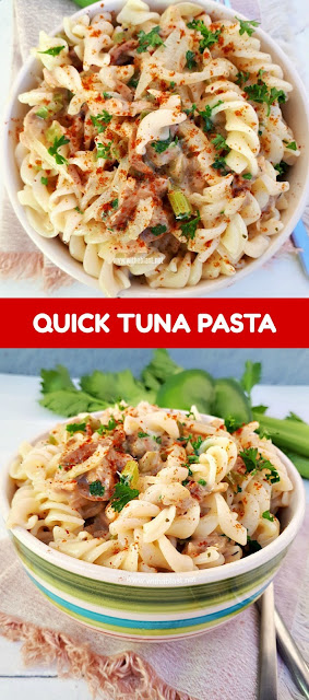 Quick, easy Summer Tuna pasta dinner packed with veggies [in a light sauce]