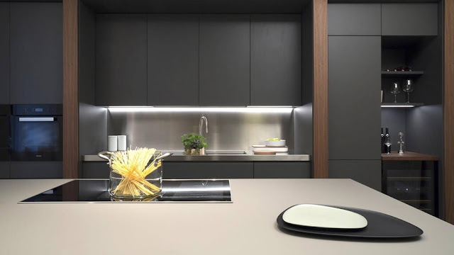 cocina abierta con isla y mesa