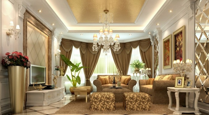 25 modern living room curtains design ideas 2016 living for Arabic living room decoration
