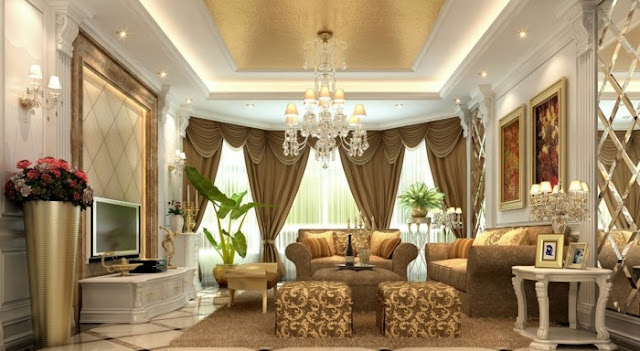Brown Fabric Vertical Curtain Design For Arabic Living room themes