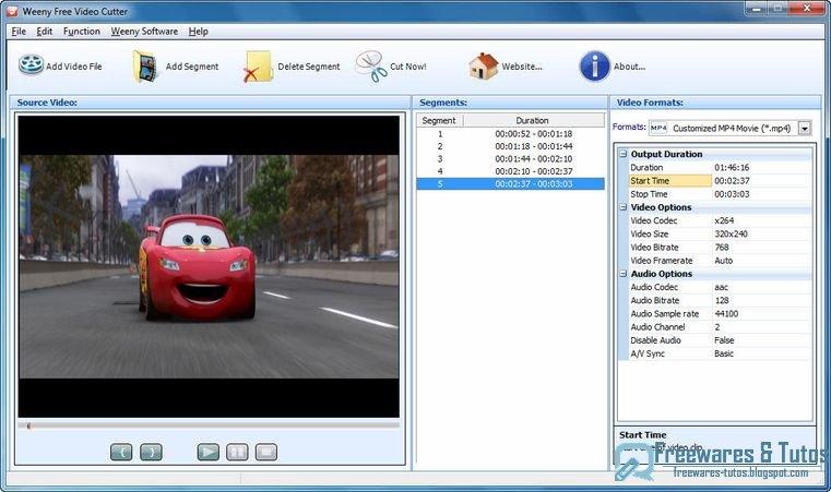 Weeny free video cutter un logiciel gratuit pour couper les vid os freewares tutos - Logiciel couper une video ...