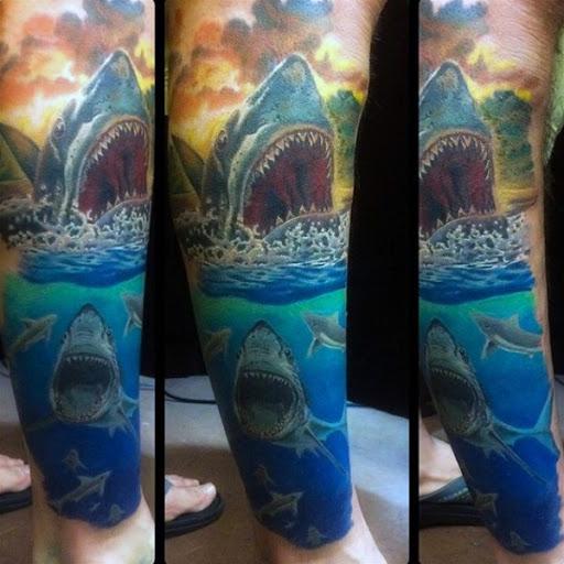 Realista Tubarão Perna Tatuagem