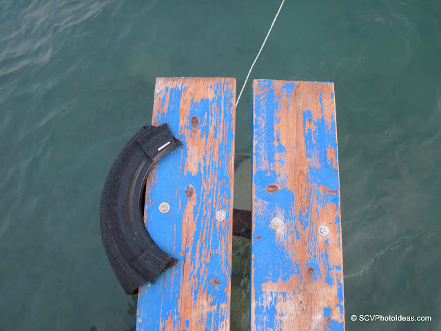 Old wooden pier edge
