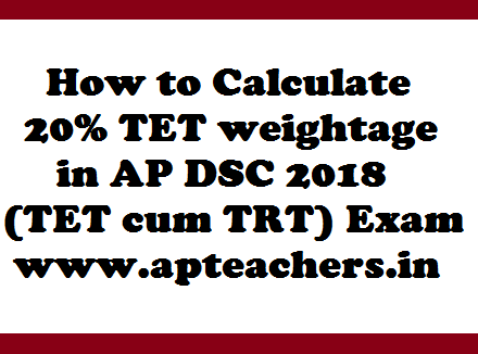 How to Calculate 20% TET weightage in AP DSC 2018 (TET cum TRT) Exam