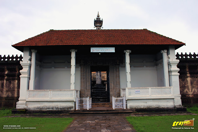 Main entrance to the temple courtyard, surrounded by high walls, Thousand Pillared Jain Temple in Moodabidri, near Mangalore, Karnataka, India - called as Tribhuvana Tilaka Chudamani basadi or Chandranatha basadi, also known as Saavira Kambada Basadi