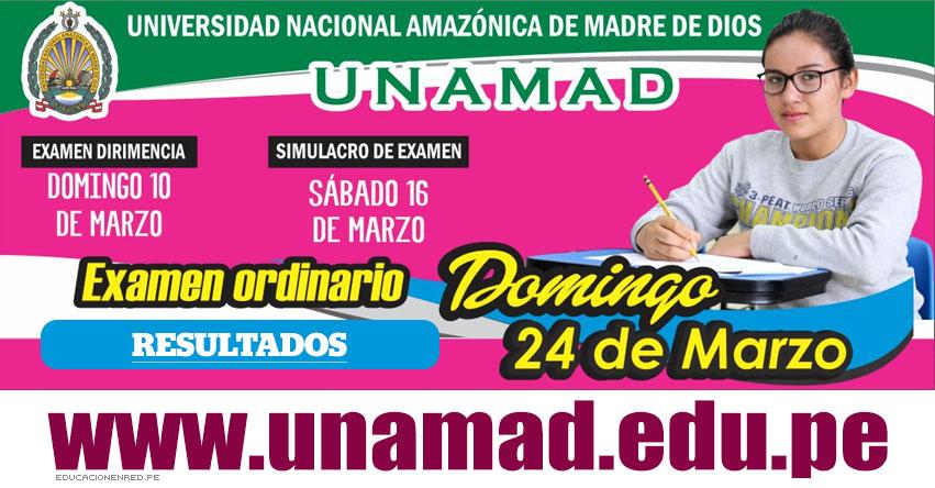 Resultados UNAMAD 2019-1 (Domingo 24 Marzo) Lista de Ingresantes - Examen Admisión Ordinario - Universidad Nacional Amazónica de Madre de Dios - www.unamad.edu.pe