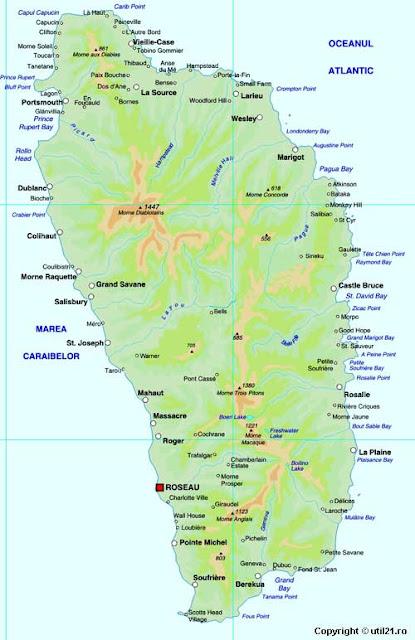 Dominika - Hartat Gjeografike në Dominika