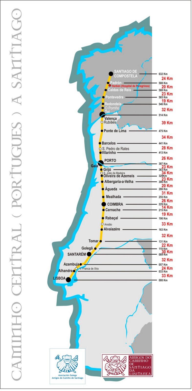 mapa caminho de santiago portugues Caminho Central (Português) a Santiago: Mapa do Caminho Central  mapa caminho de santiago portugues