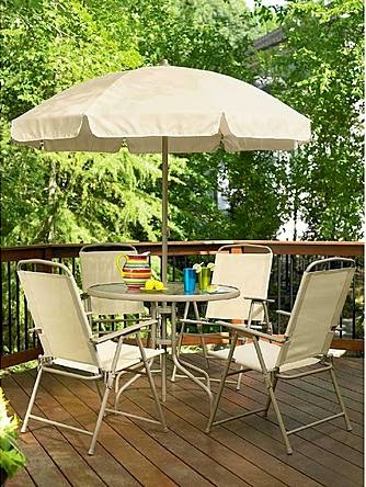 Essential Garden 6 Piece Folding Patio Set For 121 49 4 Sling Chairs Gl Table And Market Umbrella