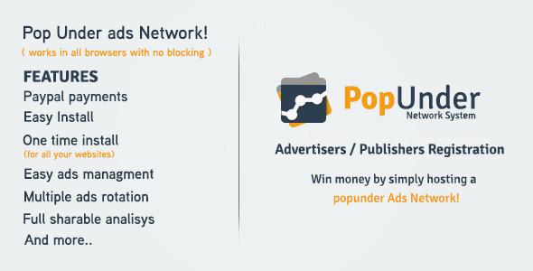 PopUnder Ads Network Script v1.0 - CodeCanyon
