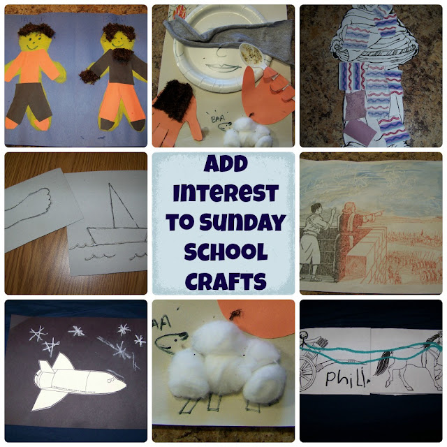Add Interest to Sunday School Crafts (texture, 3D, movement) | scriptureand.blogspot.com