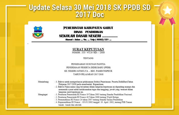 Update Selasa 30 Mei 2018 SK PPDB SD 2017 Doc
