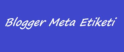 Blogger Meta Etiketi Ekleme