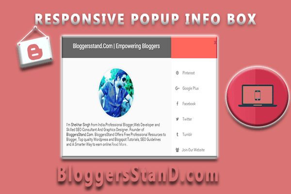 How To Add Responsive POP UP About us author info about me Widget In Blogger template