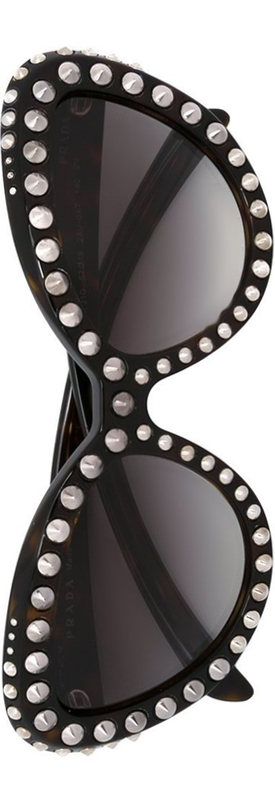 PRADA EYEWEAR 'Ornate' Cat Eye Sunglasses Black/Brown