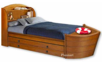 Children's Boat with Trundle Bed Woodworking Plans  kids theme beds - childrens theme beds - themed beds - kids beds - themed toddler beds - unique furniture - castle loft beds - castle beds - animal beds - car beds - boat beds - train bed - airplane bed - batman bed - princess beds -  fantasy beds - playroom beds -