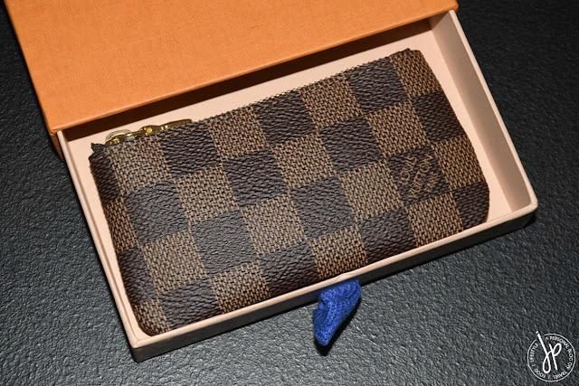 brown checkered coin purse