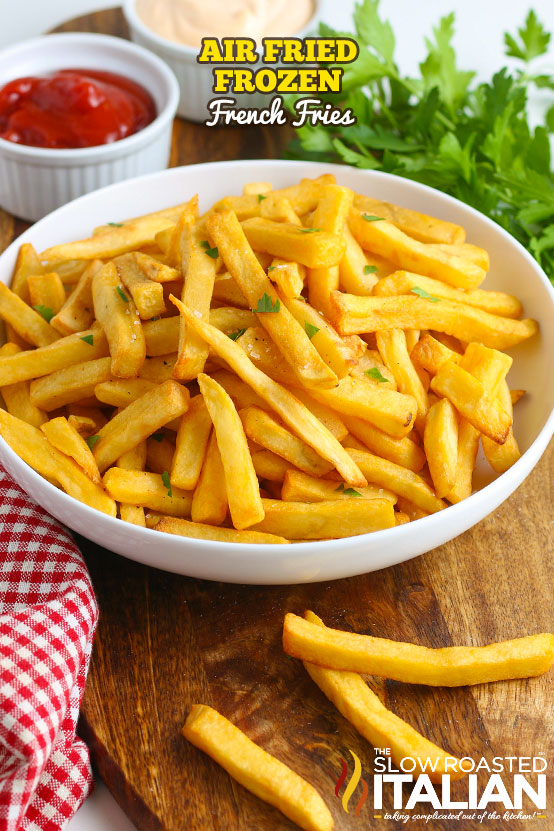 Air fried frozen French fries in a bowl