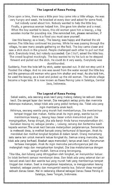 Cerita Legenda Bahasa Inggris dan Indonesia