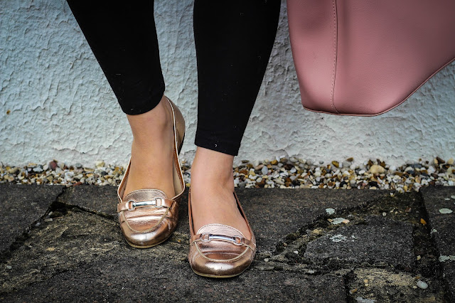 new look rose gold loafers