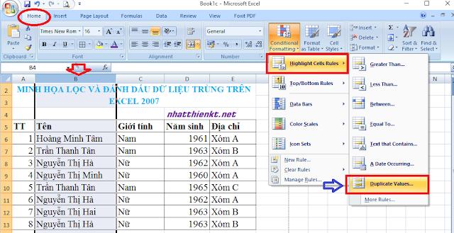 Hướng dẫn lọc và đánh dấu dữ liệu trùng lặp trên Excel