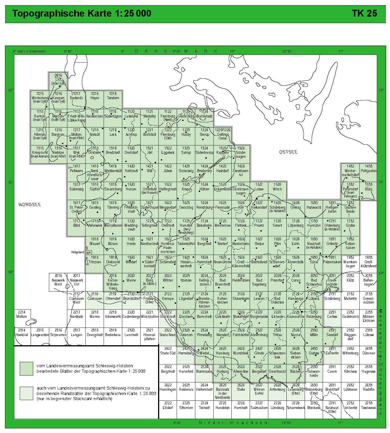 Deutschland Topo Landkarten 1 25 000 Blattschnitte Index